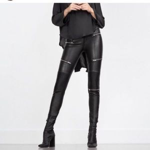 Zara Faux Leather Zipper Trouser
